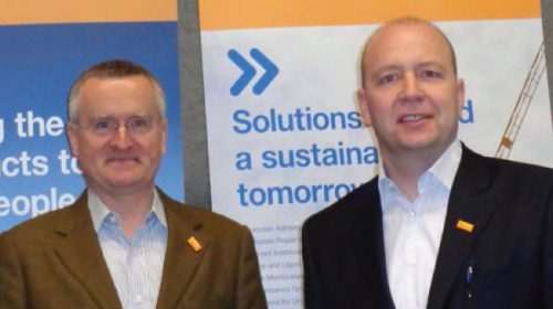 BASF Construction Chemicals' Dr. Tilman Krauch (left) and Dirk Bremm kicked off World of Concrete 2014 announcing the unified branding launch in North America.