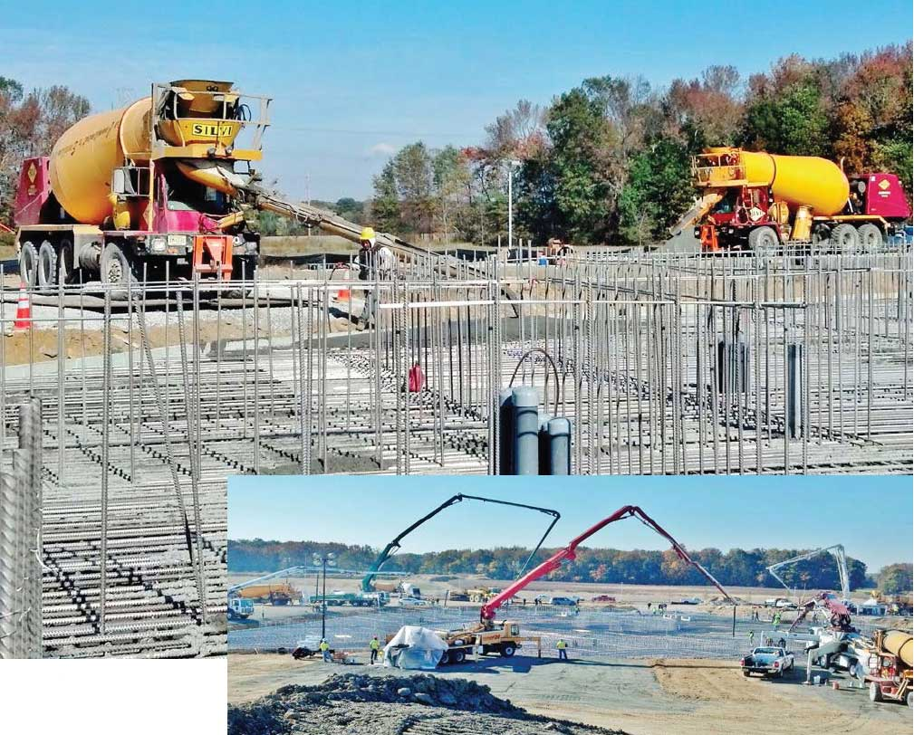 The BAPS monument foundation was built with stainless steel reinforcement and a high performance, fly ash-rich mix.
