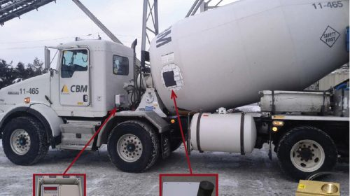 Toronto's CBM is the premier SensoCrete user, with 27 trucks running the technology. The Concrete Optimizer package includes a cab-mounted computer that receives the load's slump measurements from drum mounted probe; an external control with bright red readout; and, a meter mounted at the rear of mixer.