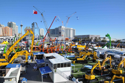 """ConExpo-Con/Agg and IFPE 2014 took center stage last month in Las Vegas with what organizers dub """"tremendous energy and serious buyers."""" Registration was just shy of 130,000, second only to the events' 2005 staging, while new scale records were set with 2,400 exhibitors occupying 2.5 million sq. ft of indoor and outdoor space."""
