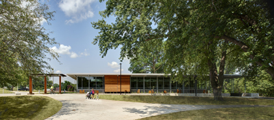 Giovannetti Community Shelter in Urbandale, Iowa, is constructed with precast wall panels and hollow core roof plank,