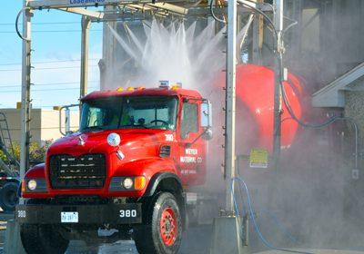 Aggregate Industries US is the installation of automated, drive-through mixer truck wash down equipment.
