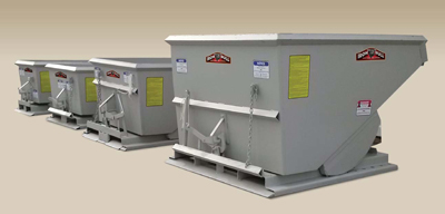 The company offers Economy Bull, Baby Bull and Big Bull series hoppers with weight capacities ranging from 1,500 lbs. to 6,000 lbs. and 1/3 to 2.5 cu. yd.