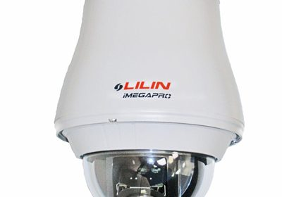 An HDTV pan/tilt/zoom (PTZ) IP dome surveillance camera features long-range, 20x optical zoom lens (4.7 to 94 mm) and 12x digital zoom suited to large-scale security applications.