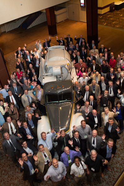 Ontario mainstay St Marys CBM dispatched its 1939 International D-40-mounted mixer, with six-cylinder, 89-hp engine and 1.6-yd. Rex drum, to the Sheraton Centre Toronto, where C09 members commenced committee centennial observances.