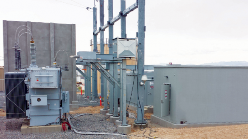 New substation building (below) and TruFire Wall system (left) demonstrate Oldcastle Precast's capacity for delivering finished modular structures to highly restricted access sites; and, developing refractory-grade concrete equal to high temperature, explosion-prone conditions. PHOTOS: Oldcastle Precast